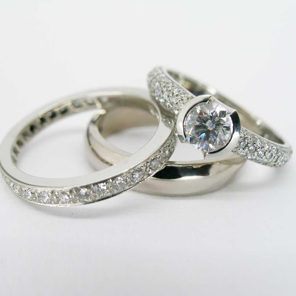 Diamond bridal trilogy ring set