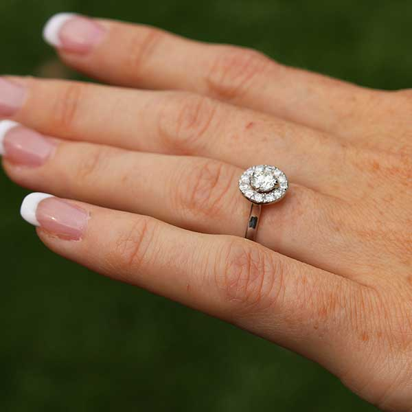 Bespoke diamond halo ring