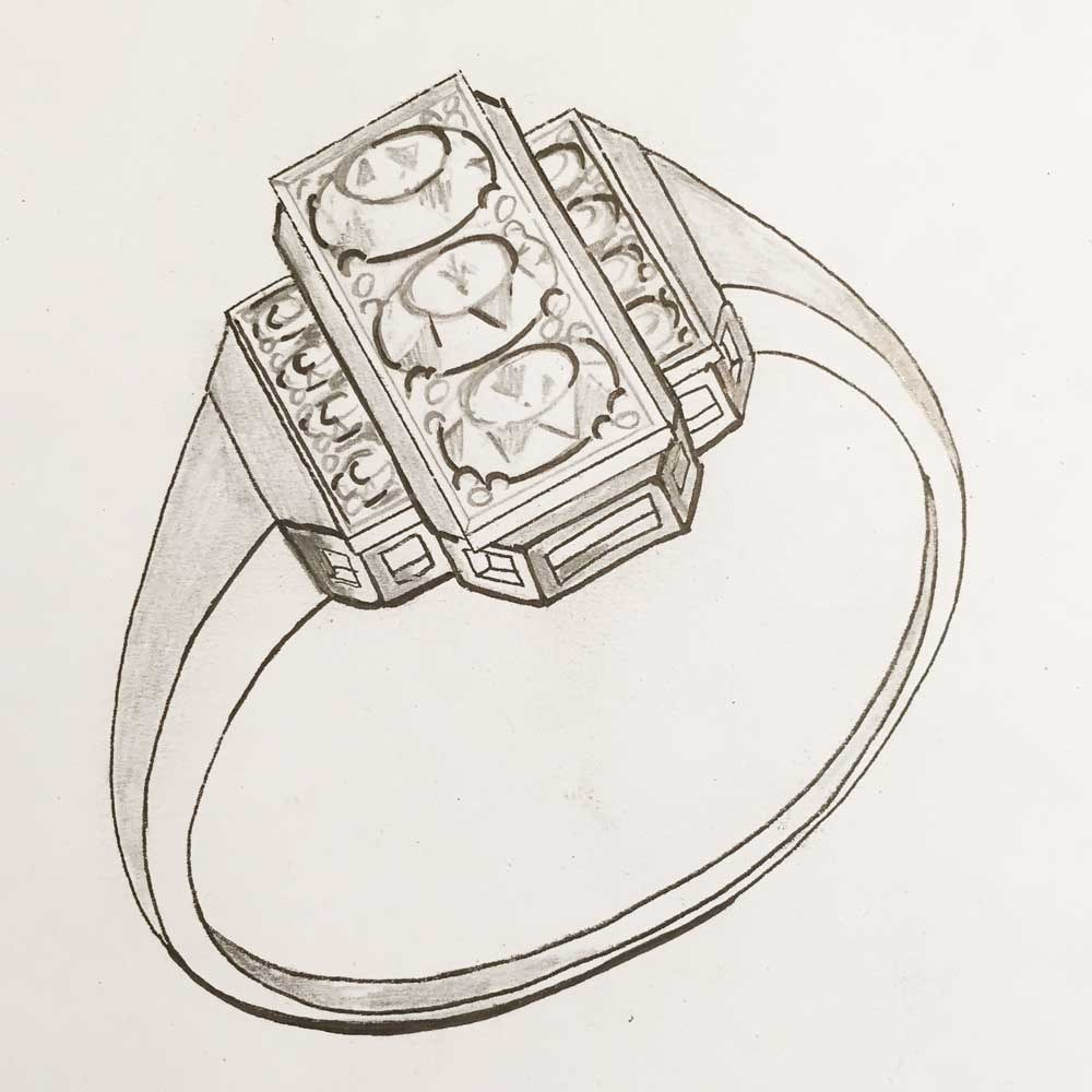 Rendered Art Deco ring design