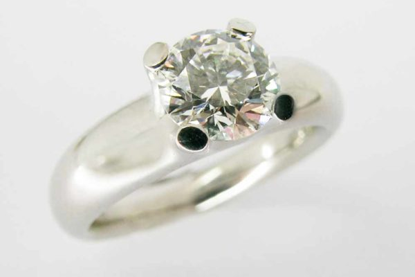Platinum claw-set diamond ring