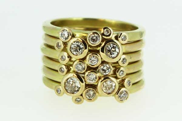 Yellow gold and diamond ring set – remodelled heirloom jewellery