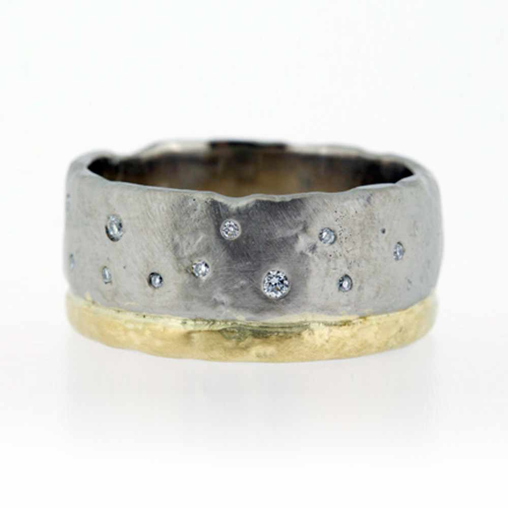 Molten bi-colour gold ring with diamonds