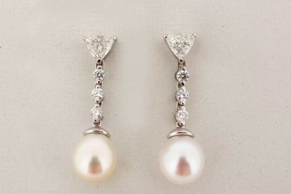 Platinum trillion diamond and pearl drop earrings