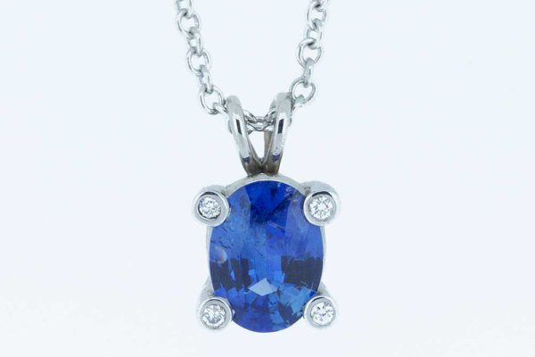 Platinum sapphire and diamond drop necklace