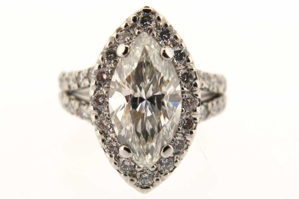 Platinum marquise diamond halo ring