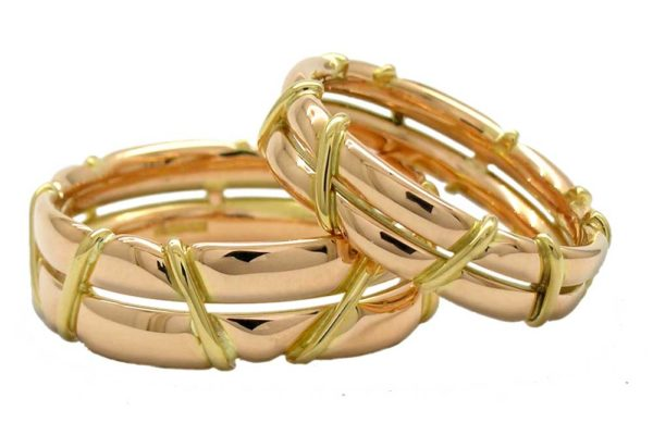 Red gold bands with yellow gold rope detail