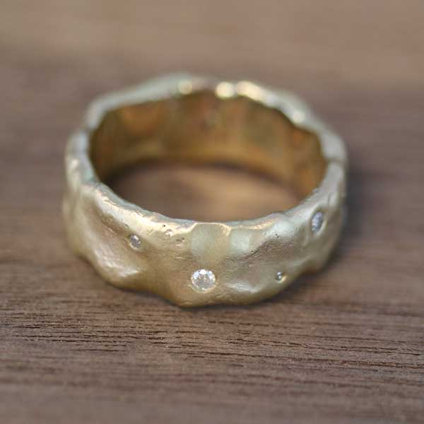 Remodelled gold and diamond Molten Ring