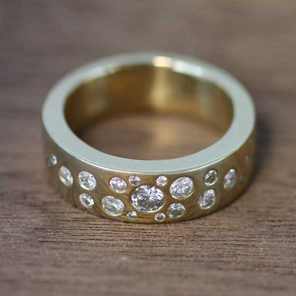 Recycled gold and diamond wedding ring