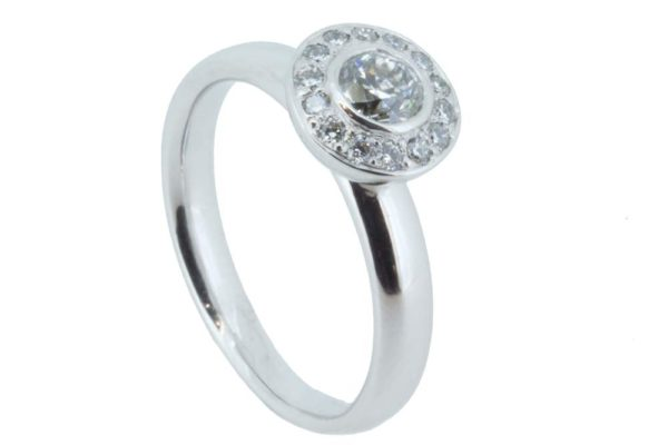 Concentric platinum diamond halo ring
