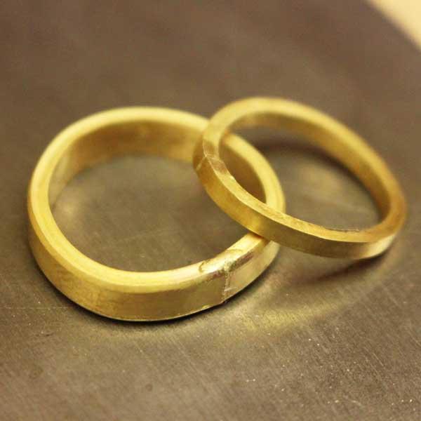 Wedding rings being made