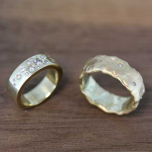 Two bespoke recycled gold weddings rings