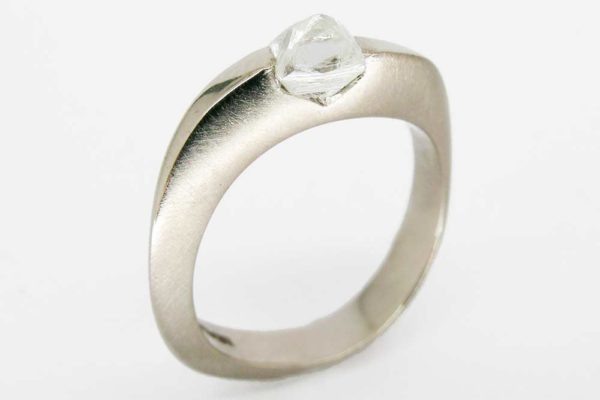 Natural platinum ring with rough cut diamond