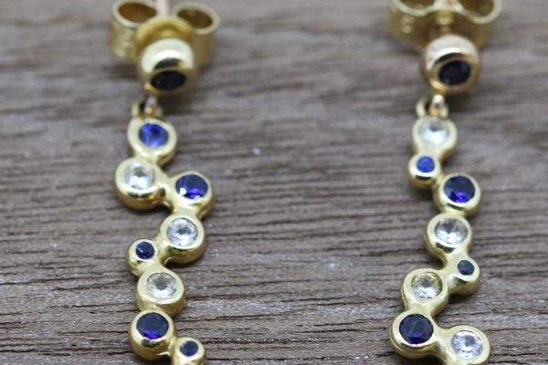Yellow gold diamond and sapphire drop earrings