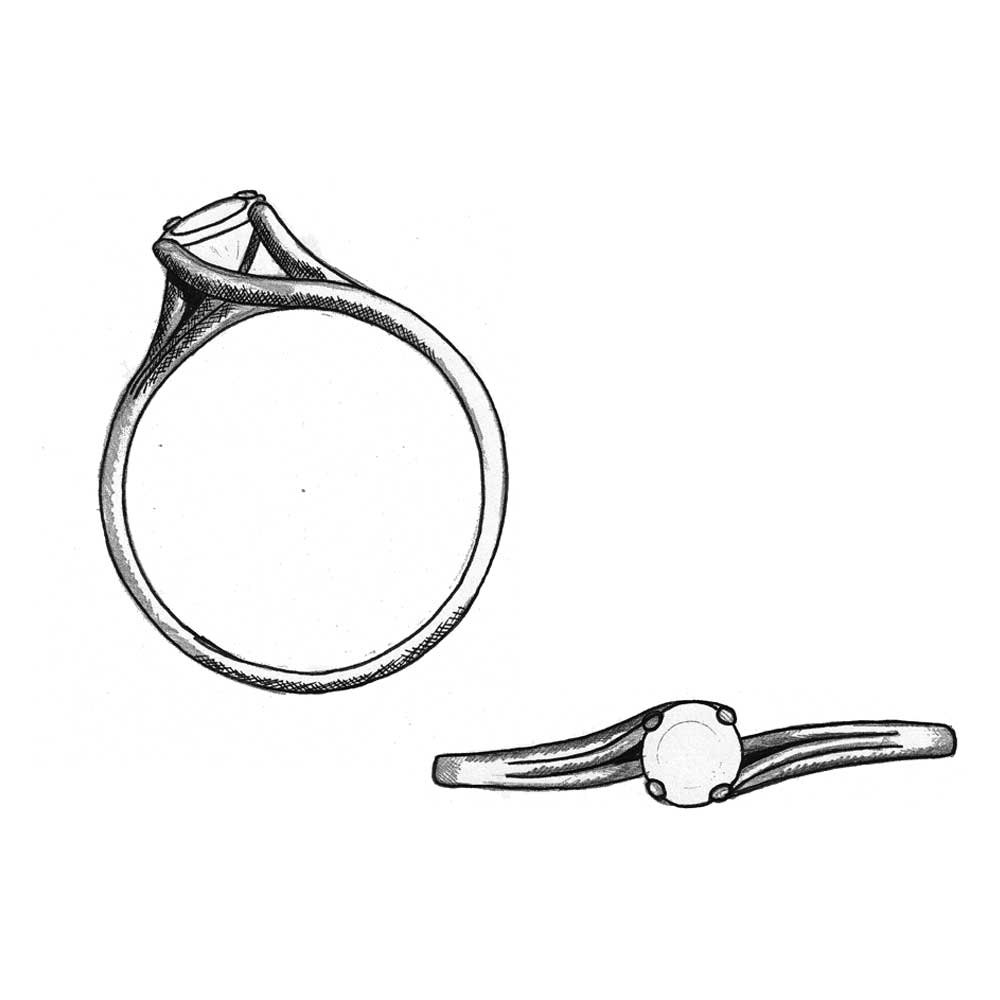 Solitaire ring design sketch