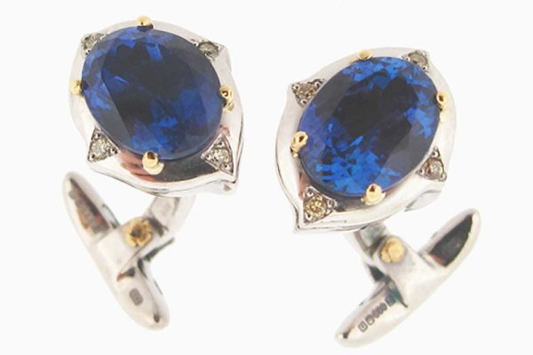 Gold and tanzanite cuff-links