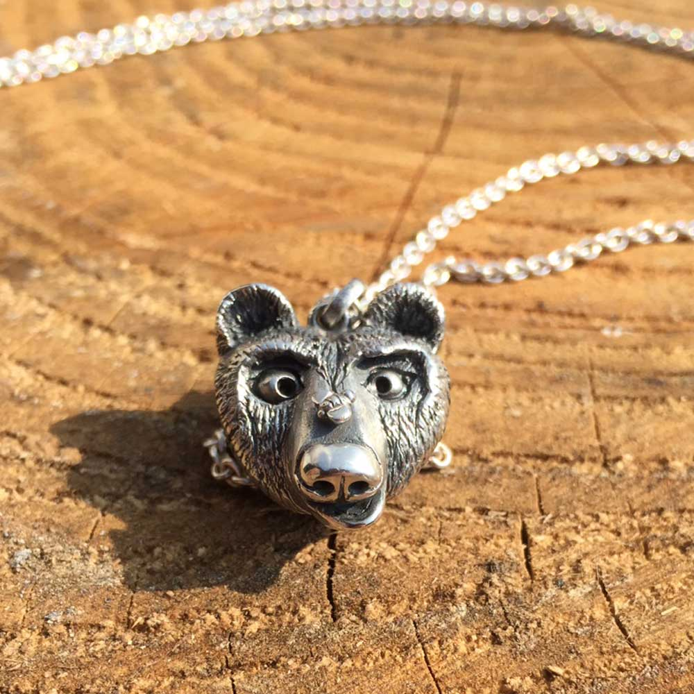 Bespoke design bear necklace